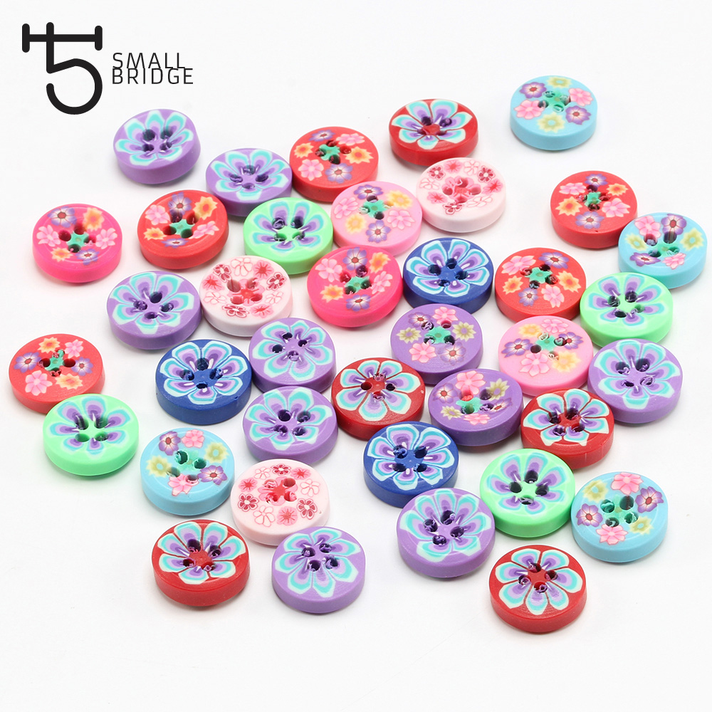 100 Pcs Mixed fimo Polymer Clay Flower Spacer Beads 8mm DIY Sewing Decoration