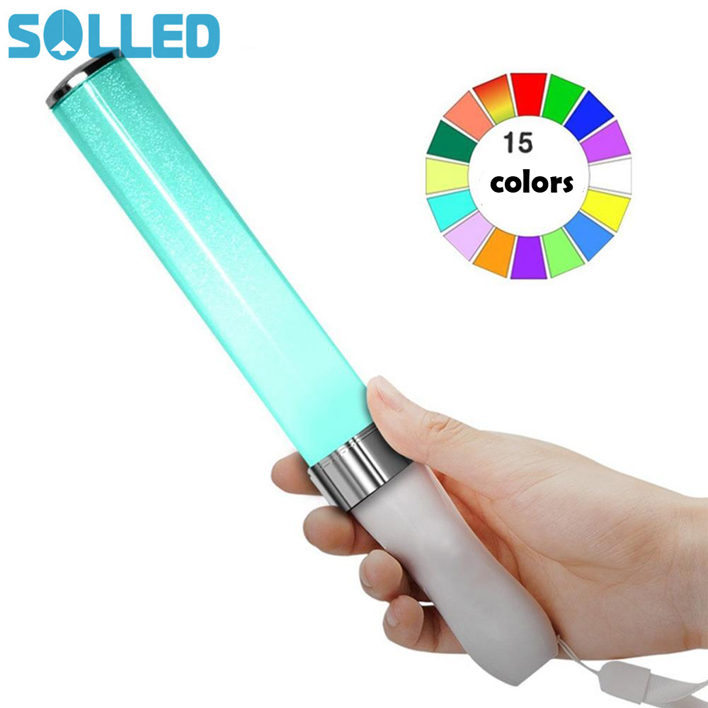 SOLLED Vocal Concerts Glow Sticks LED 15 Colors Change Light Stick Party Wedding Magic Camping Chemical Fluorescent Hot