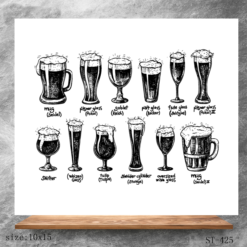AZSG Beer Glass Clear Stamps Seals For DIY Scrapbooking Card Making Album Decorative Silicone Stamp Crafts in Stamps from Home Garden