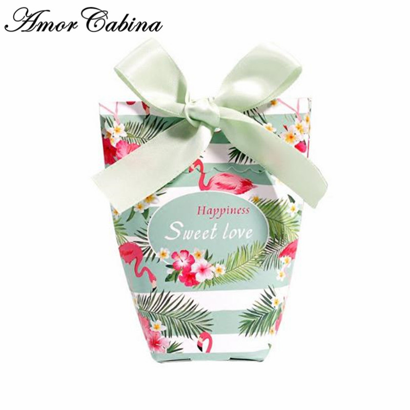 European creative wedding forest style green flamingo candy box Bomboniere paper candy bag party chocolate box wedding gift