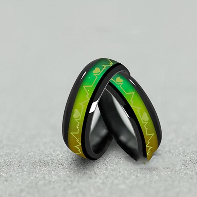 Couples Black Titanium Mood Rings