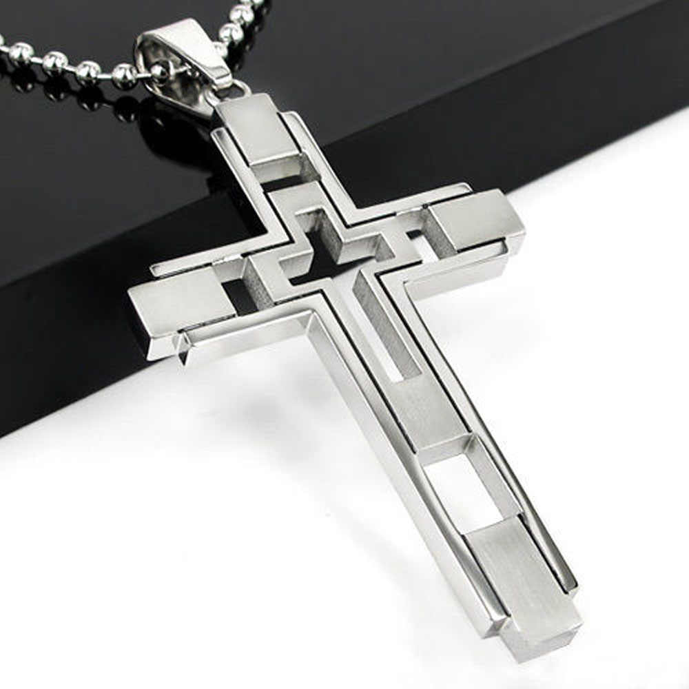 Fashion Jewelry Unisex Boy Silver Stainless Steel Cross Pendant Necklace For Men Women Pendant Necklace Gift Dropshipping