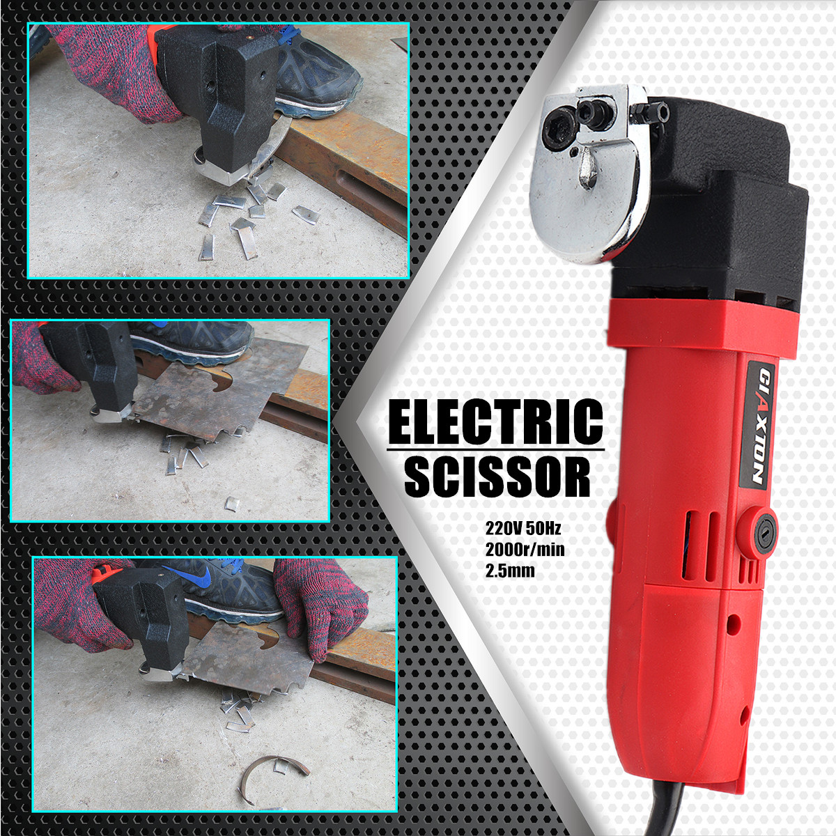 500W 220V 2000r/min Professional Electric Sheet Metal Shear Snip Scissor Cutter EU Plug Power Tool 290x77x145mm Slide Switch