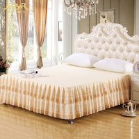 ROMORUS New Gold Luxury Quality Princess Lace Bed Skirts 100% Cotton Full Queen Size Beige Bed Skirt Solid Bedroom Bed Sheet