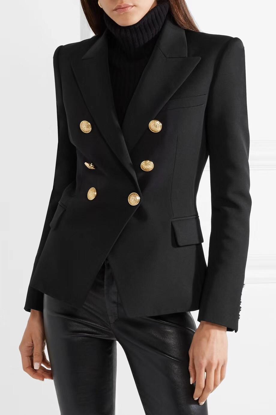 ¡Calidad superior! Blazer clásico de sarga negra de doble botonadura con botón en relieve dorado hasta chaquetas de manga larga para mujer-in chaqueta de deporte from Ropa de mujer    3