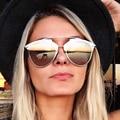 2016 New Fashion Woman Coatong Cat Eye Sunglasses Women Brand Designer Metal Retro Vintage Mirrored Cateye Sun Glasses