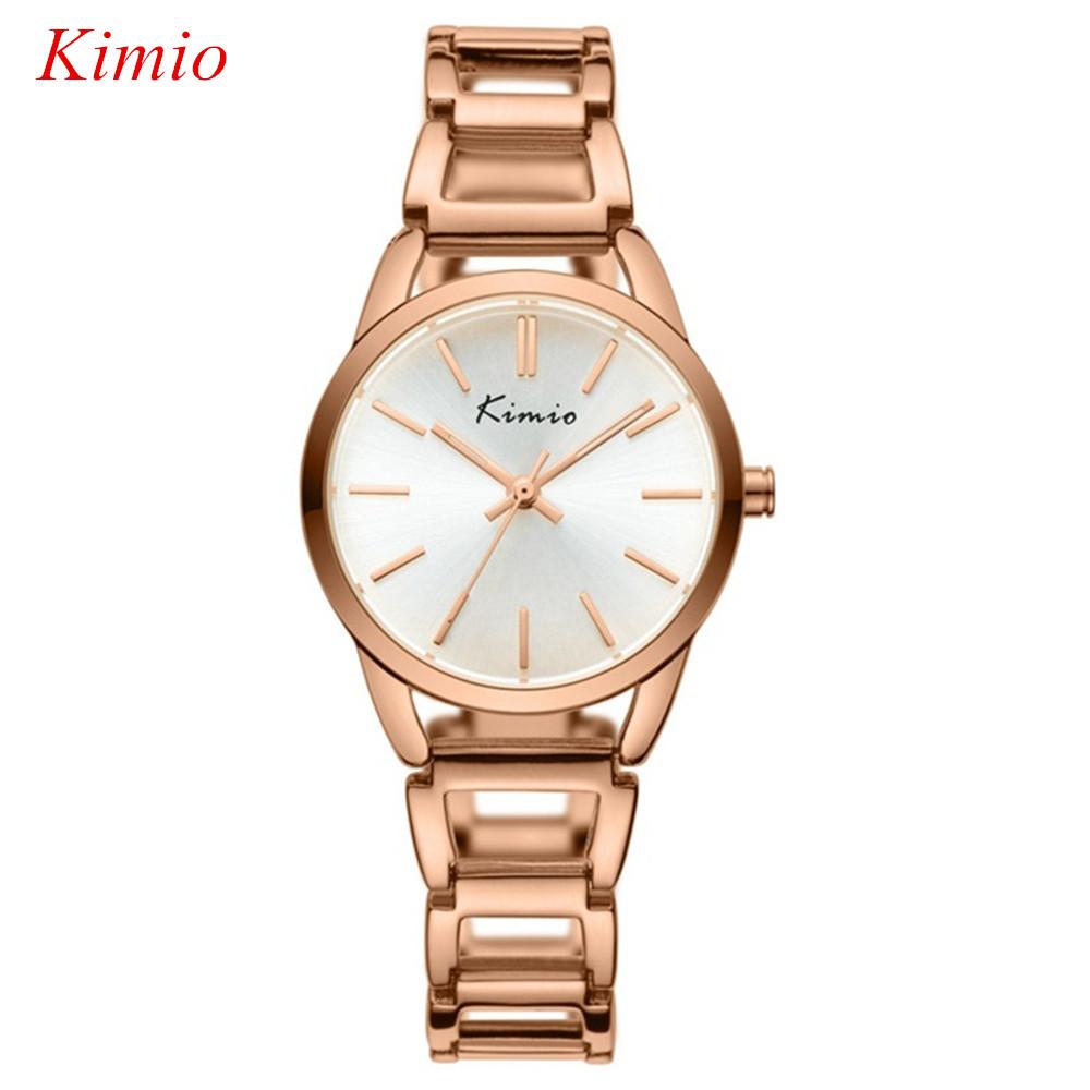 Prix pour KIMIO marque Femmes bracelet montres Mode casual montre en or Rose femmes robe étanche bracelet à quartz montres pour femmes Montres
