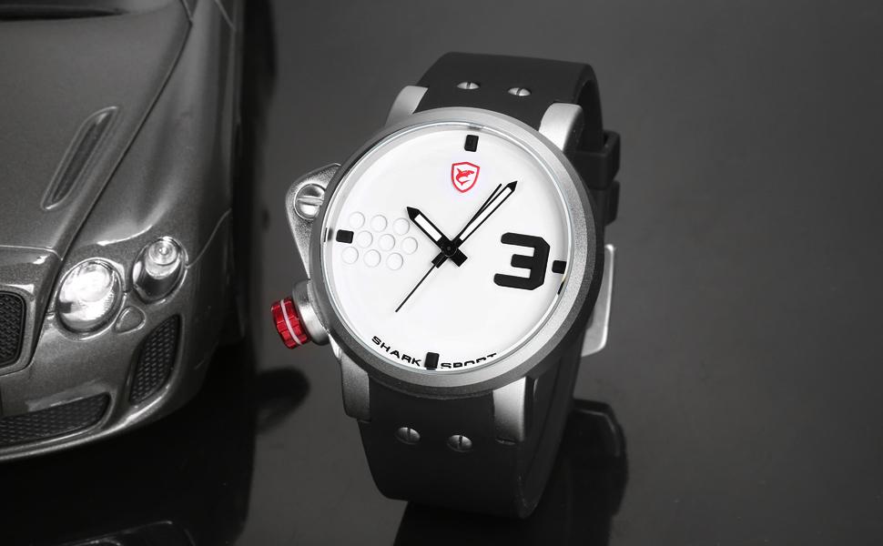 ปลาแซลมอนฉลามกีฬานาฬิกาดีไซน์เนอร์บิ๊กด้านซ้ายปุ่มกรณีควอตซ์นาฬิกาผู้ชายชายซิลิคอนวงReló... 9