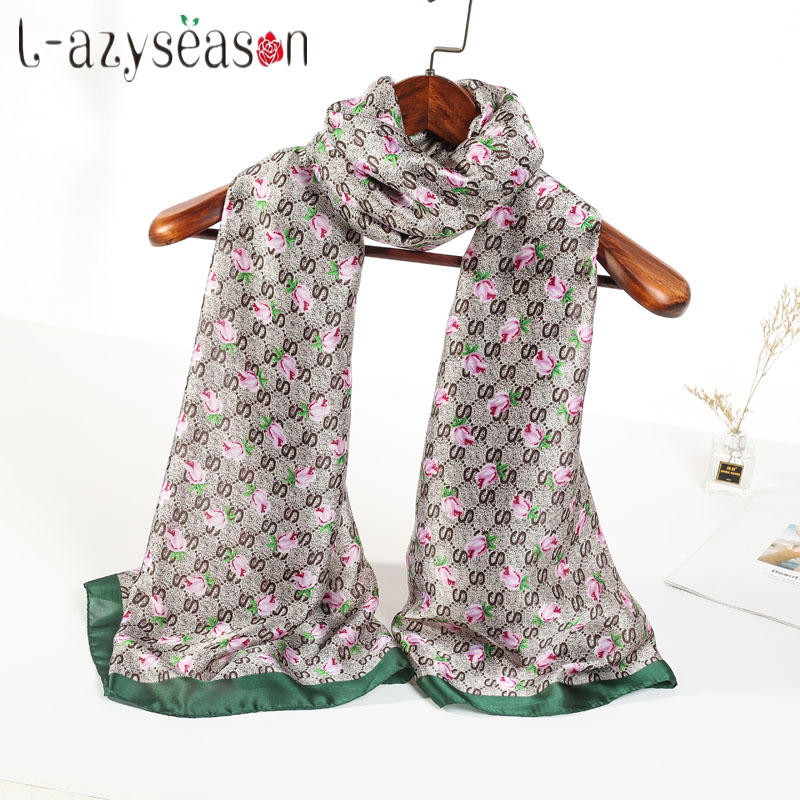 2018 Luxury brand scarf women fashion soft lady silk Scarves designer Wave print female shawls wraps long size 70.87X35.43 INCH