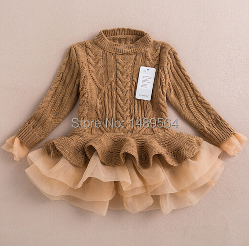 все цены на  Organza Sweater girl Dress vestidos fashion long sleeve knitted girls clothing princess sofia lace dress Brand china factory  онлайн