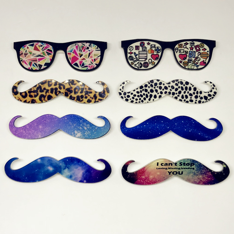 1PC Maxisin Acrylic Leopard beard glasses Icons on badges with a pin Kawaii icon on backpack brooch for clothing and bags
