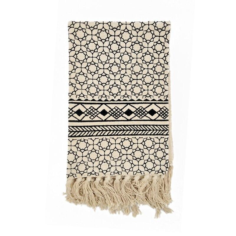 Kilim black white 100% cotton Living room Carpet geometric Indian ...