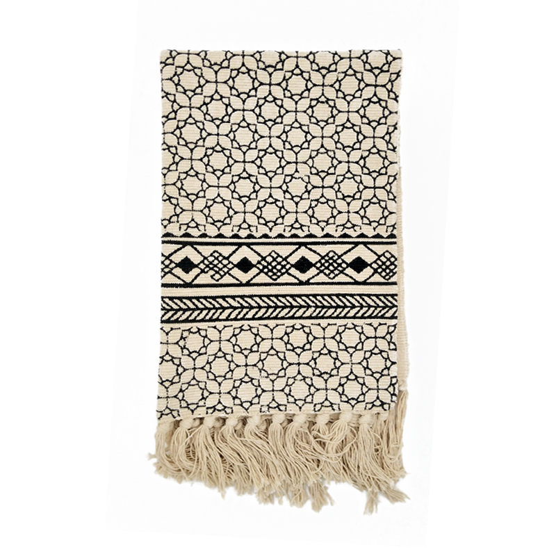 Kilim black white 100 cotton living room carpet geometric for Home inspired by india rug