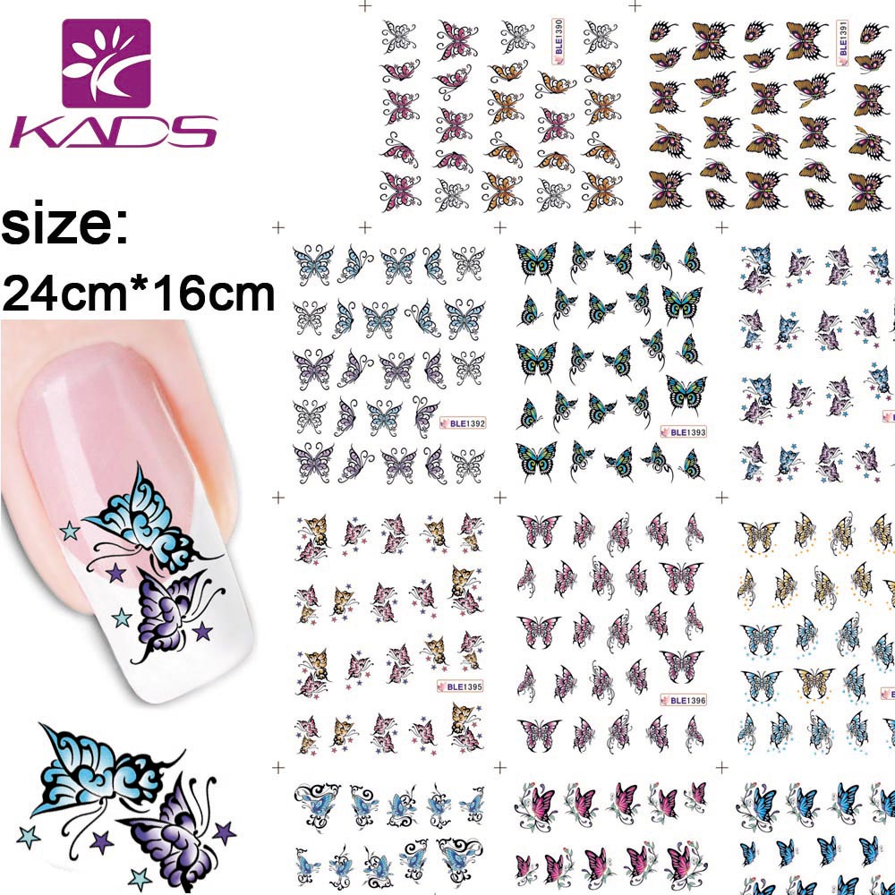KADS 11sheet/set BLE1390-1400 Butterfly nail sticker decal Serie water decals nail art stickers for nail water decals 11sheet set bjc023 033 cat nail design gitter christmas nail sticker decals water sticker for water decals nail art stickers