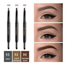 ILISYA – crayon à sourcils automatique Double extrémité, imperméable, Pigments bruns naturels durables, stylo de tatouage pour les yeux, cosmétique