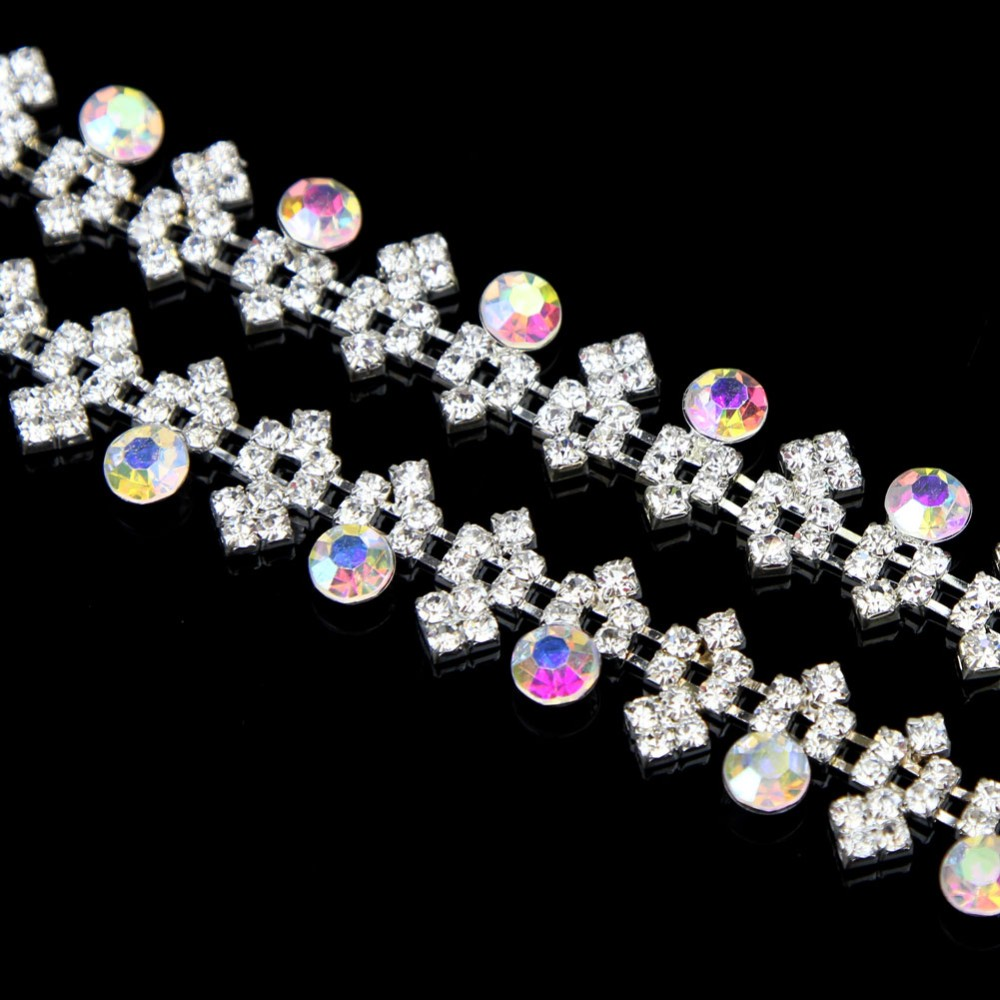 10Yards Glass Rhinestones Colorful Applique for Wedding Dress Sewing Accessories Hotfix Rhinestones