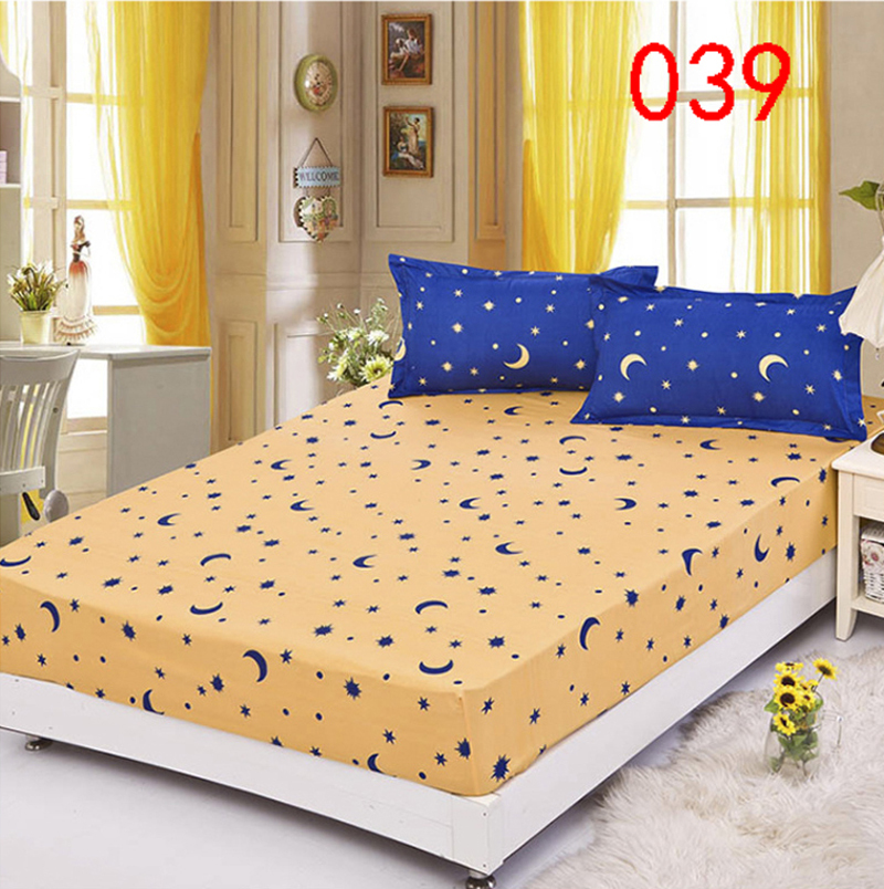yellow star polyester fitted sheet single double bed sheets fitted cover full queen mattress. Black Bedroom Furniture Sets. Home Design Ideas