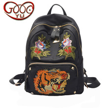 ФОТО europe and the united states fashion embroidery oxford vertical backpack floral animal tiger pattern hot tide backpack