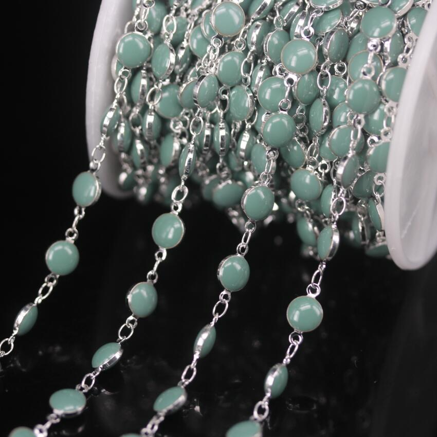 5Meter/Lot 6mm Cyan Blue Enamel Beaded Rosary Chains,Lampwork Flat Round Coin Beads Links Plated Silver Chokers Chain Jewelry