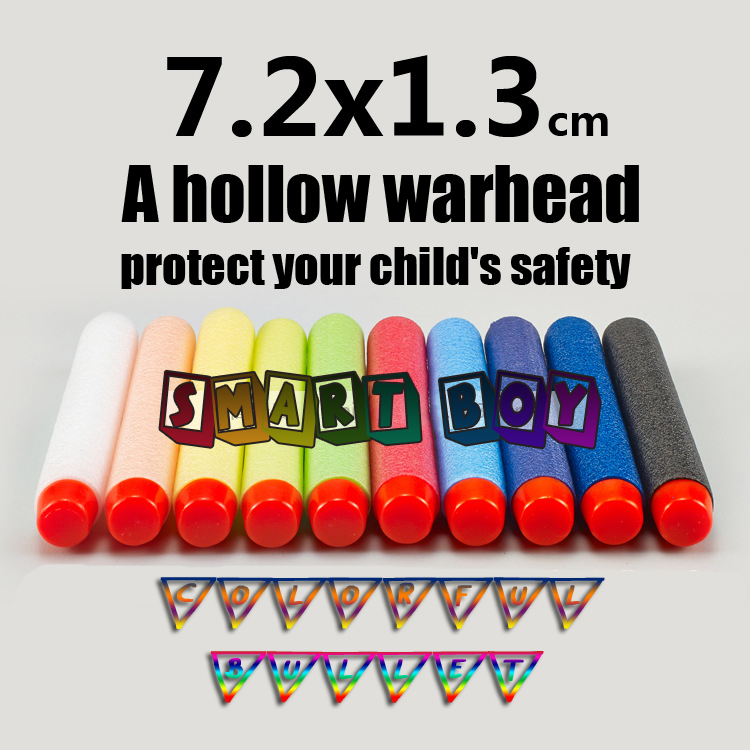 10pcs Toy Gun Bullet Nerf gun dart and Soft Bullets nerf bullets slug Multiple color combination safty air gun boy toy