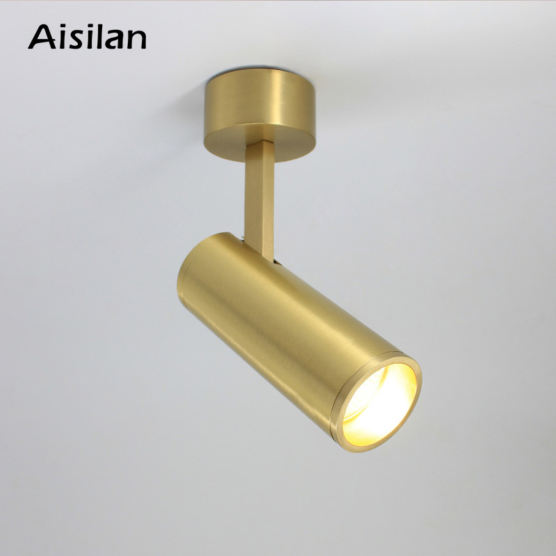 Aisilan Solid Copper Surface Mounted Spotlights Nordic design Golden LED Adjustable Angle Ceiling Spot Lights AC