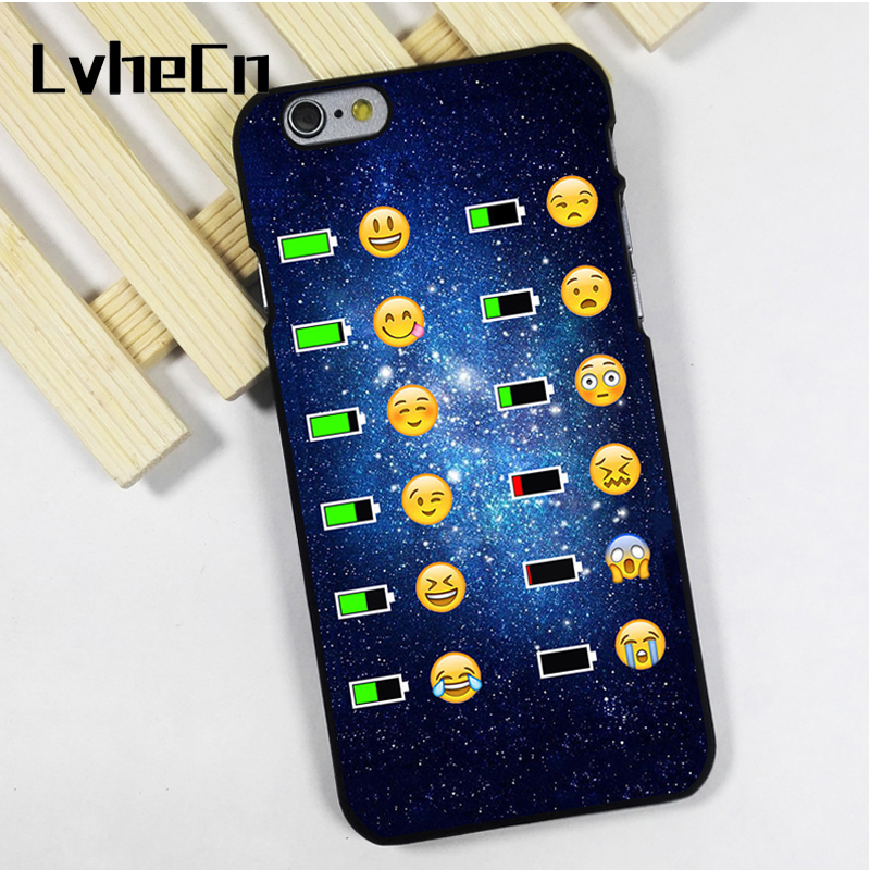 LvheCn phone case cover fit for iPhone 4 4s 5 5s 5c SE 6 6s 7 8 plus X ipod touch 4 5 6 Emoji Face Phone Battery Charge