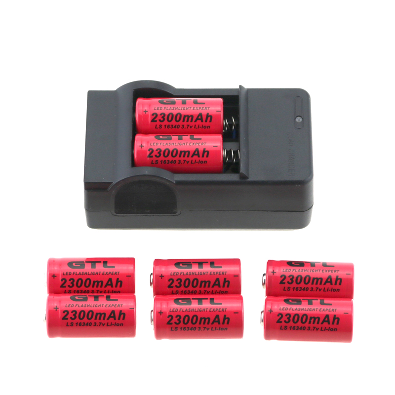 8PCS 2300mAh Rechargeable 3.7V Li-ion 16340 Batteries For LED Flashlight + 1PC Travel Wall Charger For 16340 CR123A Battery