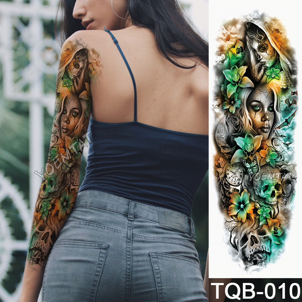Temporary Tattoo Sticker Yellow green skull roses pattern Full Flower Tattoo with Arm