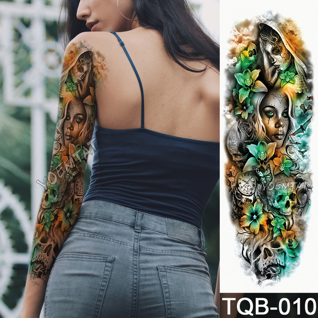 Aliexpress buy new 1 piece temporary tattoo sticker yellow new 1 piece temporary tattoo sticker yellow green skull roses pattern full flower tattoo with arm mightylinksfo