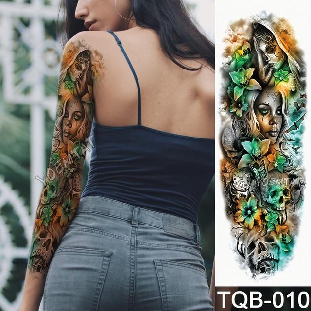 New 1 piece temporary tattoo sticker yellow green skull roses new 1 piece temporary tattoo sticker yellow green skull roses pattern full flower tattoo with arm mightylinksfo