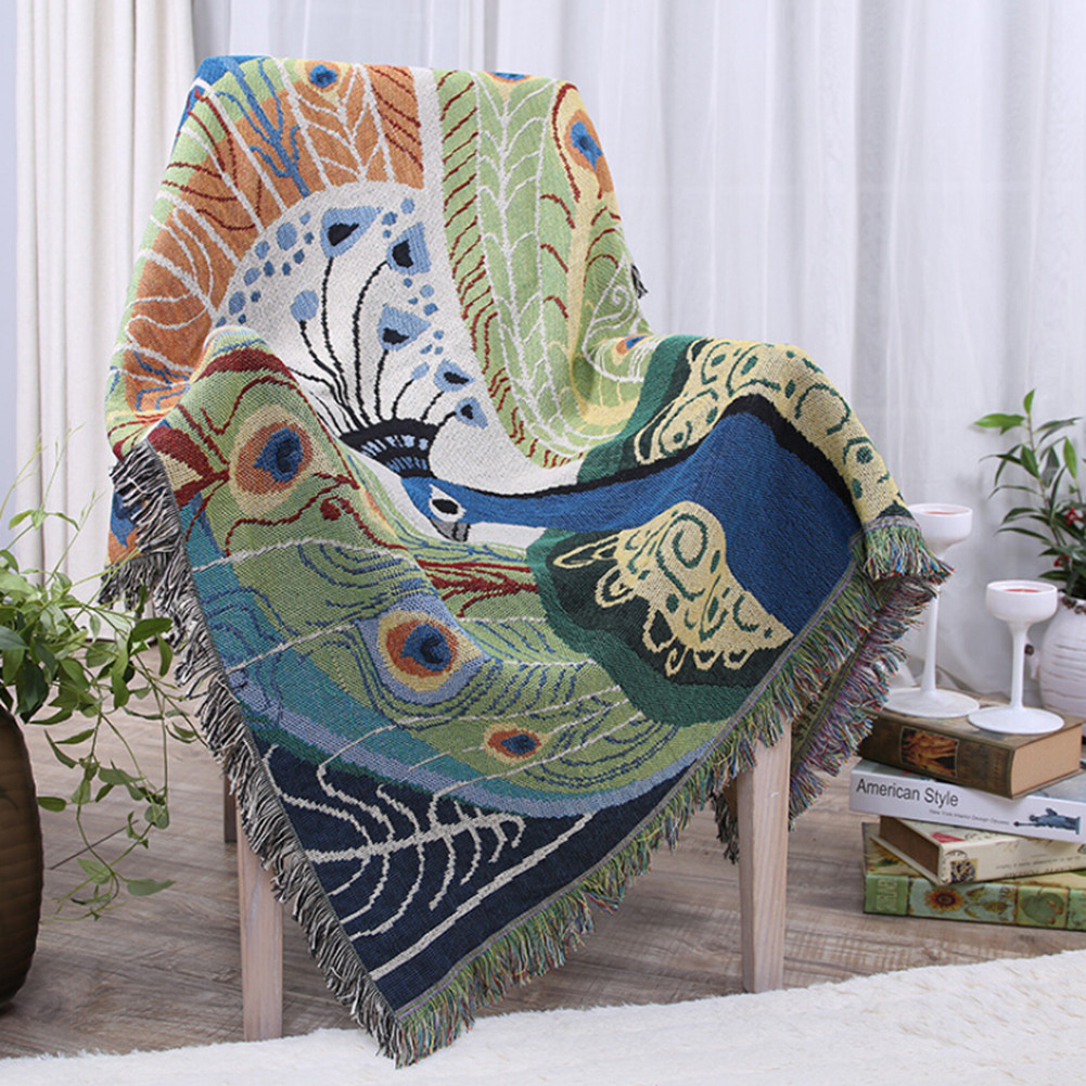 Quality Thick Cotton Blankets Peacock Air Conditioning Throw Blanket for Bed Sofa Plane Cobertor Home Decorative with Tassel