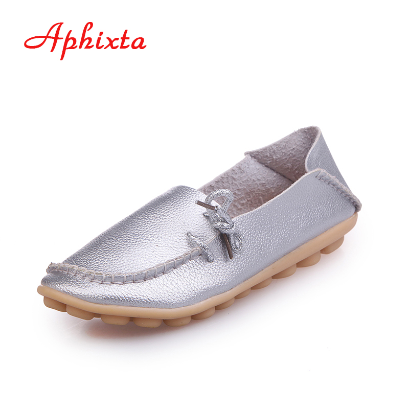 AphixtaSoft Genuine Leather Women Shoes Lace up Casual Flat With Peas Non-Slip Outdoor Shoes Silver Black Plus Size 34 -44 the black eyed peas the black eyed peas the beginning 2 lp