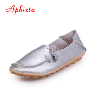 AphixtaSoft Genuine Leather Women Shoes Lace Up Casual Flat With Peas Non Slip Outdoor Shoes Silver