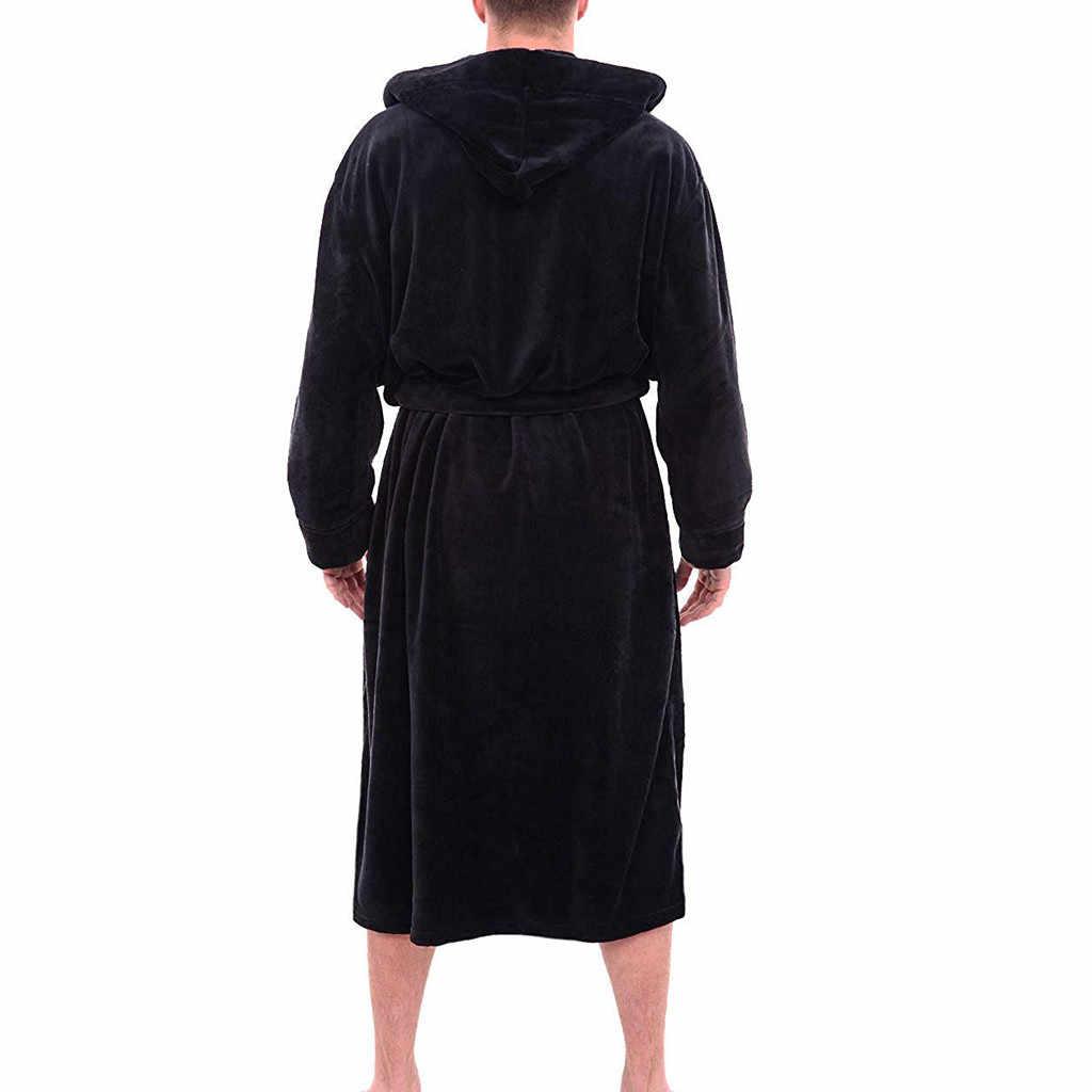 Gli uomini di Inverno Allungato Scialle Peluche A Casa Accappatoio Vestiti A Maniche Lunghe Veste Cappotto accappatoio vestaglia homme vestaglia homme Dropship