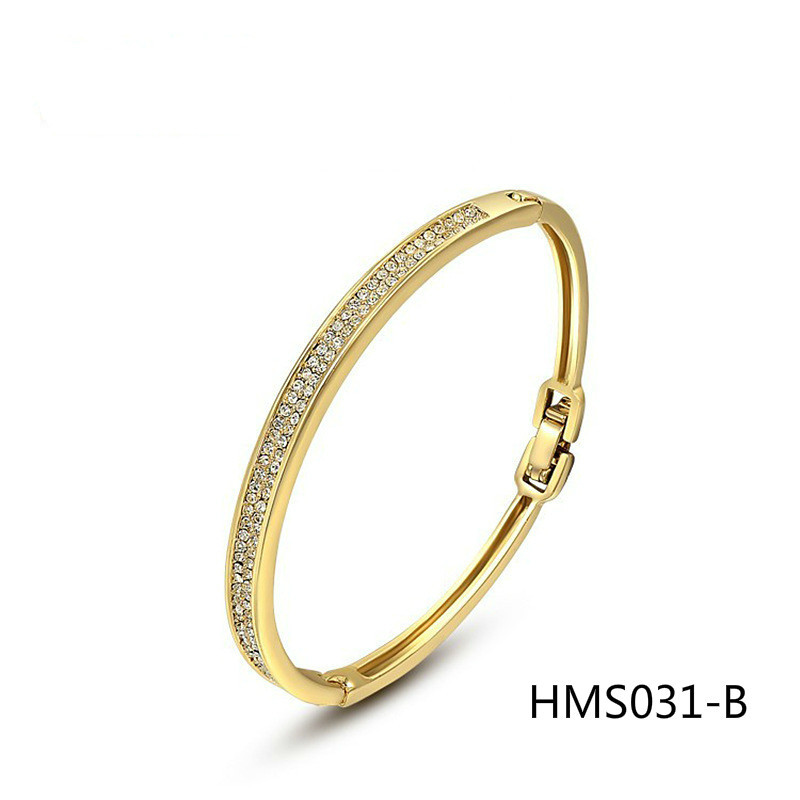 Sell Well Jewelry Hand Decorate Quality Goods Austria Crystal Starlight Coast Rose Bath Gold Bracelet