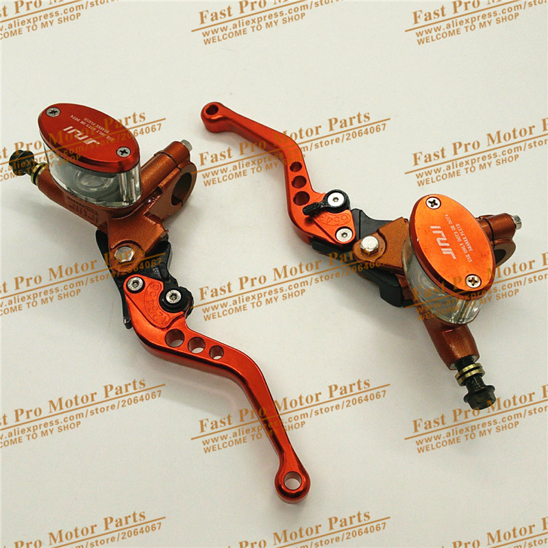 Hydraulic Brake Lever Left and Right for Electric motorcycle scooter  CNC aluminum 5 adjuster lever M10 oil hose Orange colour scooter drum brake lever handle electric scooter biker fit most moped motorcycle level brake