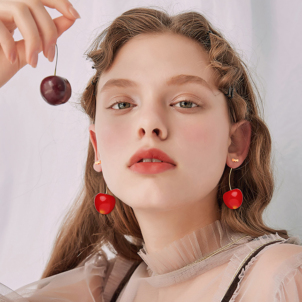 HTB1vx52ShjaK1RjSZFAq6zdLFXas - New Fashion 2019 Earrings Women Girls Resin Cute Round Dangle Red Cherry Fruit Earrings Jewelry Gift