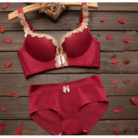 1pcs Sexy Lingerie Deep V Sexy Bra Panty Lace Gather Type Small Chest Underwear Women Set