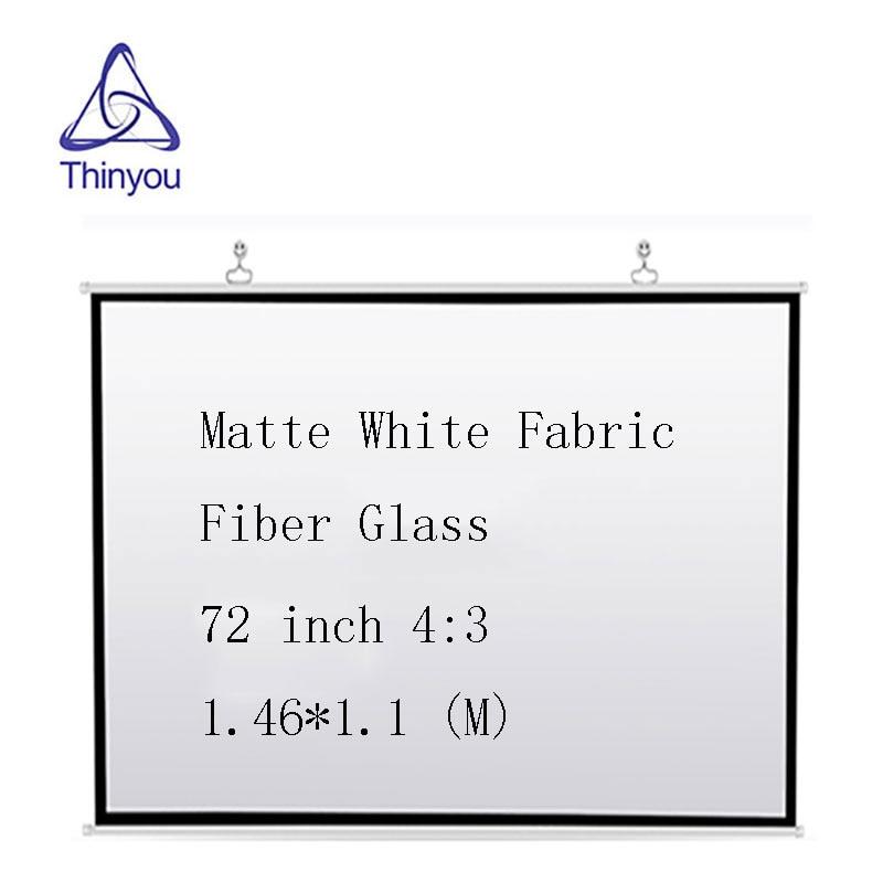 Thinyou Matte White Fabric Fiber Glass Wall Mounted 72 inch 4 3 font b projector b
