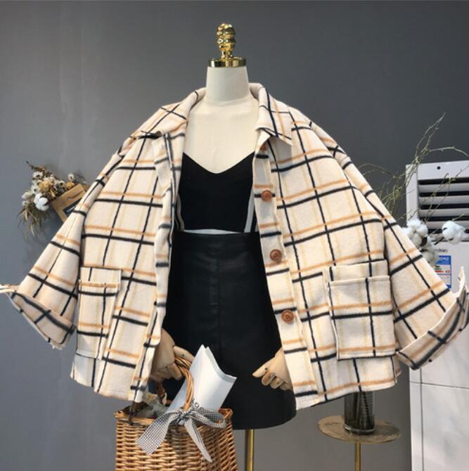Femelle Automne Vintage Vestes Blend kaki Lâche Outwear Laine Plaid Manteaux Veste Femmes En Base 2018 Hiver Manteau Bleu Cachemire De Occasionnel blanc pcdBPZnpq