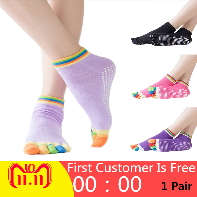 Women Yoga Socks Anti-slip Five Fingers Backless Cotton Silicone Non-slip 5 Toe Winter Female Socks Ballet Gym calcetines dedos soumit 5 colors professional yoga socks insoles ballet non slip five finger toe sport pilates massaging socks insole for women
