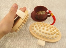 High quality Hand-Held Natural Wood Massager Body Brush Cellulite Reduction Slimming Massager 13 x 7 cm J21
