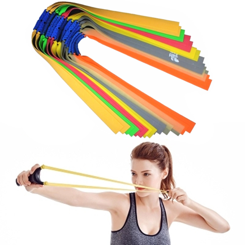 5pc Slingshots Flat Rubber Band Thicknes 0.55-0.8mm 6 Color Catapult Natural Latex Flat Elastic Resilient For Shooting
