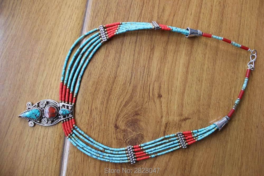 NK205 népal fait à la main en cuivre incrusté Lapis coloré pierre pendentif collier ethnique tibétain 5 couches collier de perles livraison gratuite