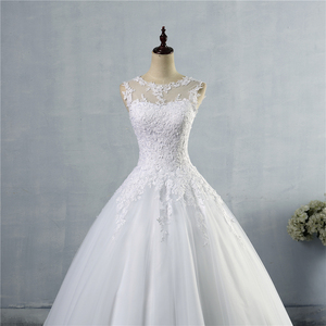 Image 4 - ZJ9036 lace Branco Marfim Vestidos de Casamento Vestido de Renda acima para trás Croset 2019 para a noiva plus size maxi Cliente fez tamanho 2 26 W