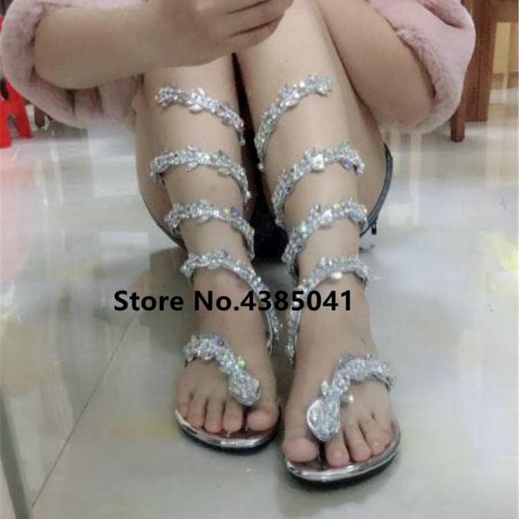 b33dea834 YUE JABON Luxurious gladiator women Flat Sandals Snake Punk Rhinestone Flat  Heel Women Sandals Wedding Party shoes Plus size 42