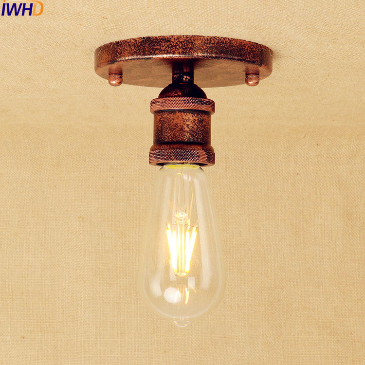IWHD Rust Edison LED Ceiling Lights Fixtures Living Room Lamp Vintage Ceiling Light Industrial Flush Mount