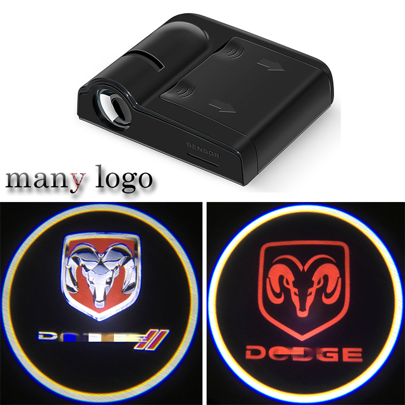 2PCS Led Car Door Welcome Logo Light For Dodge Charger Ram 1500 Challenger Jeep Projector Ghost Shadow Lamp