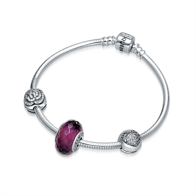 QUEEN OF HEART Fine Jewelry High Finish 925 Sterling Silver Charm Bracelet Amethyst Faceted Bead Bracelet Gift for Mother N1