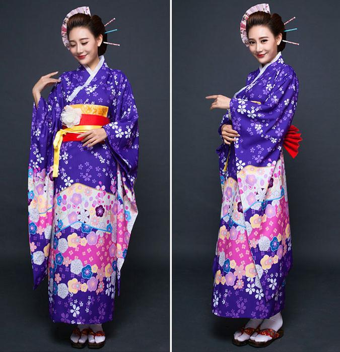 High Fashion Purple Japanese National Women Kimono Traditional Yukata With Obi Vintage Evening Dress Flower One Size NK003
